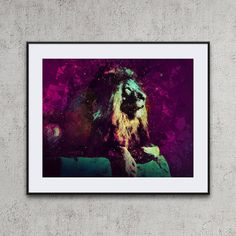 Abstract lion wildlife poster geometric lion colorful abstract animals lion printable wall art lion artwork abstract animal art prints leeuw by DreamScapeCentral on Etsy