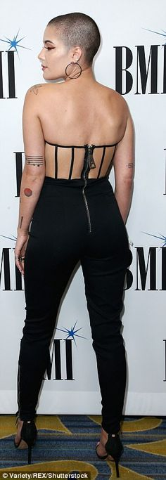 Halsey debuts edgy new buzz cut in tuxedo jumpsuit | Daily Mail Online