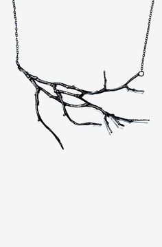 Natural Twig Branch Statement Necklace Oxidized Sterling Silver
