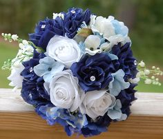 Wedding Bouquet. Navy,Light Blue,Green,White Rose Hydrangea. But with some orange and no crystals or beads