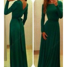 Long Sleeves Chiffon Dark Green Prom Dresses 2016