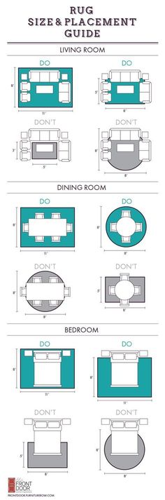 PRINTABLE Area rug size and placement guide on the Front Door blog.