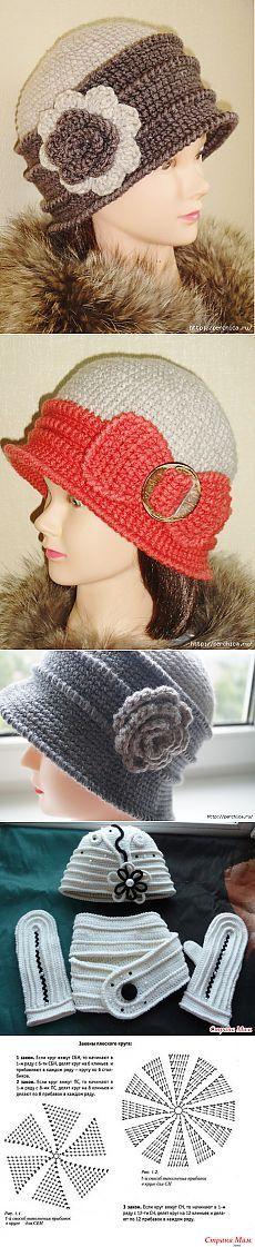 Caps women * Retro * crochet knitting + MK cross embossed strips