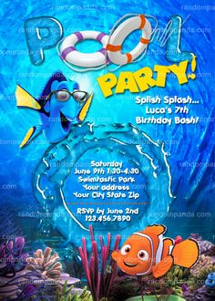Finding Nemo Invitation, Swimming Pool Party, Finding Dory Party Invite