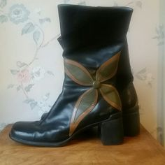 CLARKS INDIGO black flower boots Excellent condition Clarks Shoes Heeled Boots