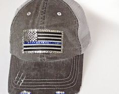 30a5c0687fc Thin Blue Line Flag Baseball Cap Womens Hat Thin Blue by Elivata
