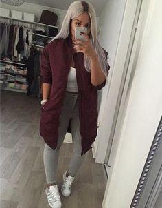 coat long bomber jacket shoes jacket hair grey girl teenagers beautiful gorgeous style fashion swag iphone outfit love burgundy jacket bomber jacket navy vue boutique vintage oversized bomber jacket