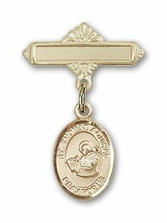 Gold Filled Baby Badge with St. Thomas Aquinas Charm and Polished Badge Pin St. Thomas Aquinas is the Patron Saint of Catholic Schools/Students Needzo Religious. $50.50. Made in the USA - Lifetime guarantee against tarnish. Patron of Catholic Schools/Students. Christian Patron Saint Medal Pendant Necklace. St. Thomas Aquinas. 1 X 5/8 inch Polished Badge Pin Patron Saints - T St. Thomas Aquinas is the Patron Saint of Catholic Schools/Students. Save 16%!