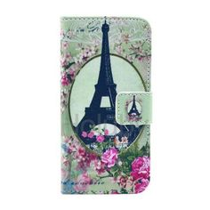 Wholesale! Wallet Style Foldable Flip Stand Cross Texture Leather Case for iPhone 5C (Eiffel Tower Pattern)