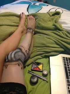 Recreated robot leg make-up found on /r/pics. - Imgur