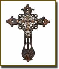 "2 Tone Wall Cross This ornate cross is 2 toned silver and gold antiqued brass Tan and clear Swarovski crystals (11.25"" height 6.75"" wide .25' depth)  $71.99"