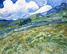 Vincent Van Gogh Wheatfield with Mountains in the Background (also known as Mountain Landscape Seen across the Walls) hand painted oil painting reproduction on canvas by artist Art Van, Van Gogh Art, Vincent Van Gogh, Paul Vincent, Landscape Art, Landscape Paintings, Mountain Landscape, Asian Landscape, Mountain Art