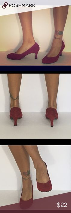 Bettie Page Nora Heel Deep Red Suede kitten heel. Bettie Page  Shoes Heels