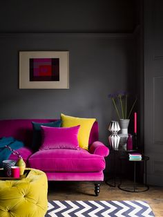 Opt for bold, jewel like colours to warm up your interiors this season with our stunning range of luxurious velvets. living room ideas warm colors home decor Saturday 2 Seat Sofa in Peony Cotton Matt Velvet Dark Living Rooms, Living Room Sofa, Home Living Room, Living Room Furniture, Living Room Designs, Home Furniture, Living Room Decor, Wooden Furniture, Velvet Furniture
