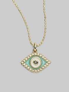 Just a little bit of spiritual protection. Sydney Evan - Diamond, 14K Gold & Enamel Evil Eye Necklace - Saks.com
