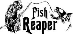 Grim Reaper Skeleton Fish Fishing Car Boat Truck Window Vinyl Decal Sticker #Oracal #Modern