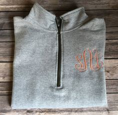 Monogrammed Quarter Zip Pullover Sweatshirt by AlfonsoDesigns