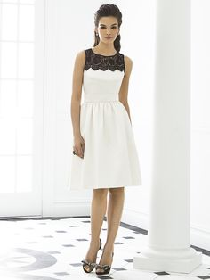 Sleeveless cocktail length matte satin bridesmaid dress w/ black lace yoke and delicately shirred skirt