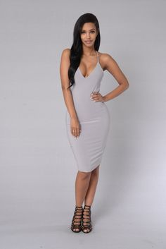 - Available in Black and Lilac Grey - Strappy Back - Midi Length - Made in USA - 94% Rayon 6% Spandex