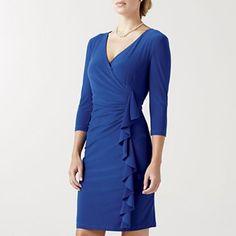 American Living Mock-Wrap Blue Dress w/Side Ruffle - jcpenney