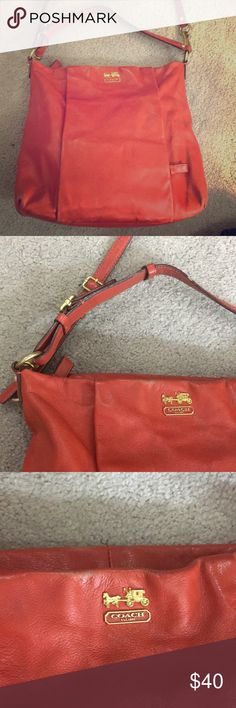 ✨💕Coach orange leather satchel f1273-21224 💕✨ Coach dark orange color satchel style purse has a little bit of where I seen in the photos very nice bag beautiful for spring summer and fall non-smoking home fast delivery at an excellent price get it today Coach Bags Satchels