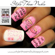 Please read full on http://stylethosenails.blogspot.com/2015/10/keep-lumps-out-of-your-cups-breast.html Style Those Nails: Keep the Lumps Out of Your Cups- Breast Cancer Awareness Nailart 2015 (Think Pink) : Video Tutorial
