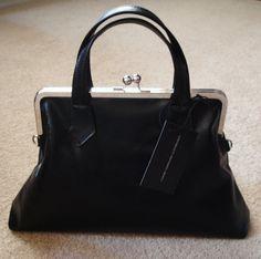 Black Calfskin leather clutch handbag frame bag - Laurel Dasso on Etsy, $182.98 AUD