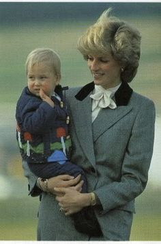 Princess Diana with Prince William at Aberdeen Airport, 24 October 1983