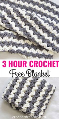 Free Crochet Blanket Pattern, 3 Hour Afghan - Crochet Dreamz, Did you ever imagine you could make a blanket in less than 3 hours? Then try this free crochet afghan pattern designed with the squishy Bernat Blanket. Beginner Crochet Projects, Crochet For Beginners Blanket, Free Crochet Patterns For Beginners, Knitting Beginners, Crochet Basics, Crochet Baby Blanket Free Pattern, Simple Crochet Blanket, Crochet Afghans, Crochet Christmas Blanket