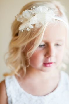 Snowdrop: Flower girl hairband, wedding accessories, hair accessories.. $17.00, via Etsy.