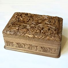 Carved Walnut Wood Box. Beautiful carved wooden box with removable tray. – Dogwood Hill Gifts