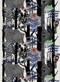 Finnish Scandinavian woodland forest fabric in grey. This gorgeous psychedelic inspired folk design by Marimekko is available now in a number of colourways perfect for bespoke curtains, blinds and soft furnishings just for you. Fabric Blinds, Curtains With Blinds, Grey Blinds, Blinds Diy, Blinds Ideas, Bedroom Curtains, Bedroom Doors, House Blinds, Blinds For Windows
