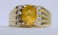 Vintage Oval Cut Citrine Stone and Cubic by LadyLibertyGold