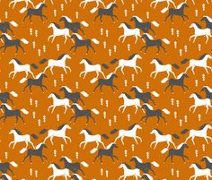 Western Horses - Rust by Andrea Lauren fabric by andrea_lauren on Spoonflower - custom fabric