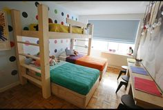 After: Bob and Cortney Novogratz craft unique bunk beds that will house all three toddlers to maximize space in this small.