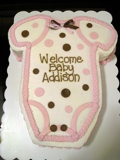'Welcome Baby Girl' Great for a sheet cake style. Use purple and yellow instead of pink and brown.