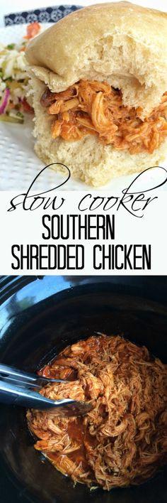 Slow Cooker Southern Shredded Chicken - Easy family dinner idea.