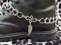 Boot Bling Bracelet Double Link Steel Chain Anklet S Hook Angel Wing Charm Biker