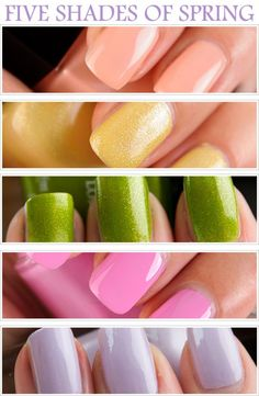 5 Shades of Spring for Nails - Chanel Emprise, peachy beige - Zoya Piaf, shimmery pale yellow, Butter London Dosh, springy yellow green - Essie Cascade Cool - cool toned pink, Zoya Marley - pale purple
