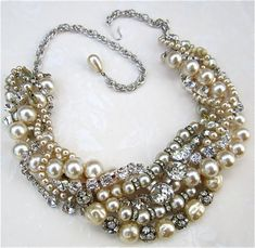 Chunky Pearl & Rhinestone Necklace Huge Bridal Statement Necklace For Vintage Wedding (Tom Binns Inspired) on Etsy, $195.00