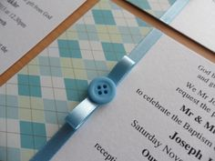 'Cute as a Button' Baptism invitations for boys