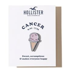 Hollister x Valley Cruise Press Zodiac Pin (20.390 COP) ❤ liked on Polyvore featuring jewelry, brooches, pins, accessories, cancer, enamel brooches, pin jewelry, pin brooch and enamel jewelry
