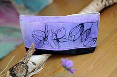 Purple clutch floral bag unique Magnolia handpainted by EJSIdsgn