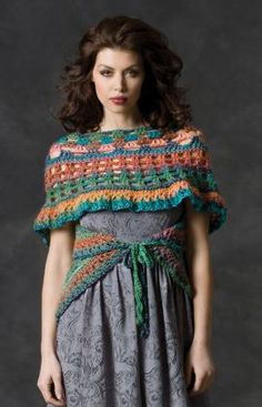 I love this pattern! Butterfly Wrap free #crochet pattern By: Double Stitch Twins for Red Heart.  I would switch up the colors for myself. :)