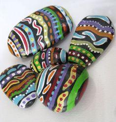 OOAK+ORIGINAL+3+Hand+painted+River+Rocks+African+Tribal+design+Stone+Boho+Chic++
