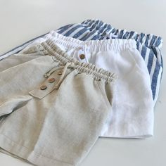 Cape Cod Shorts available in Natural, White and Blue/White Stripe Linen Available in sizes Boys Summer Outfits, Baby Boy Outfits, Kids Outfits, Newborn Boy Clothes, Baby Kids Clothes, Lulu Kids, Baby Girl Fashion, Kids Fashion, Baby Boy Dress