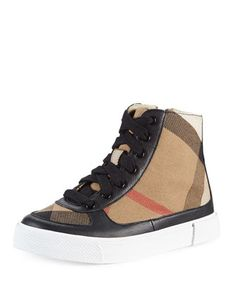 Canvas/Leather Hi-Top Sneaker, Black, Kids\' by Burberry at