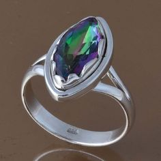 EXCLUSIVE 925 STERLING SILVER RAINBOW MYSTIC RING 4.61g DJR8305 SZ-8.25 #Handmade #Ring