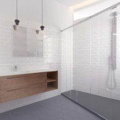 El piso de Irene - baño #reforma #renovation #baño #bathroom #blanco #white #madera #wood #azueljosmetro #subwaytiles #iluminacion #lighting
