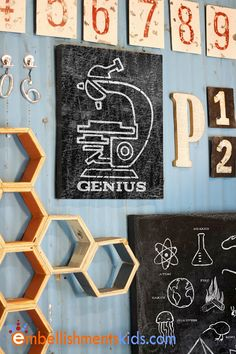 Genius Science theme Wall Art by Aaron Christensen perfect for the geek or nerd chic kids room.